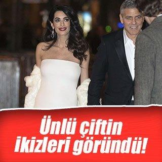 Clooney çiftinin ikizleri göründü