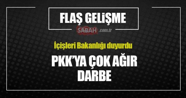 İçişleri Bakanlığı açıkladı: PKK'ya çok ağır darbe