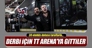 Beşiktaş taraftarı 30 otobüs ile TT Arena'ya gitti