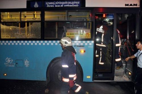 İstanbul'da halk otobüsüne molotoflu saldırı