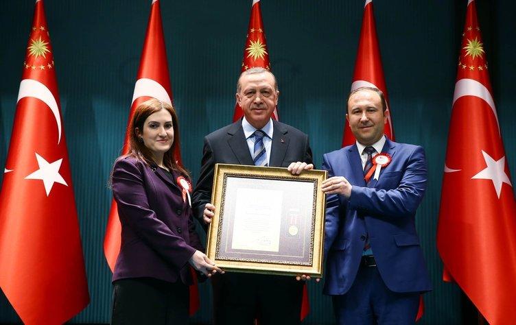 Devlet Övünç Madalyası ve Beratı Tevcih Töreni'nde ödülleri Erdoğan'dan aldılar