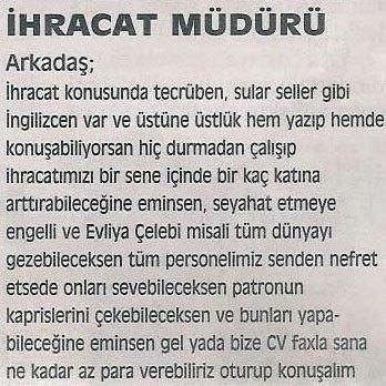 Komik ilanlar Türk insanından sorulur