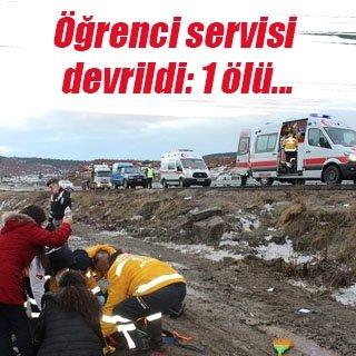 Kütahya'da öğrenci servisi devrildi: 1 ölü, 14 yaralı
