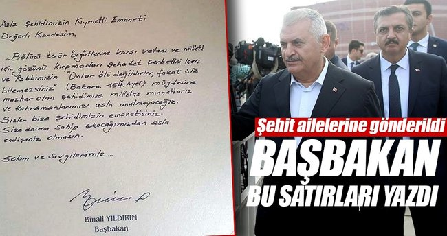 Başbakan Yıldırım, 15 Temmuz şehitlerinin ailelerinin bayramını tebrik etti