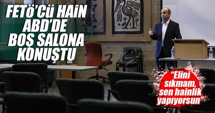 Firari FETÖ'cü Türkiye'yi boş salonda şikayet etti