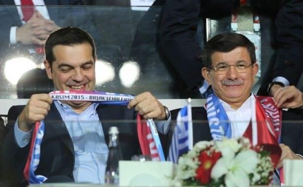 Davutoğlu ve Çipras Türkiye Yunanistan maçını beraber izledi