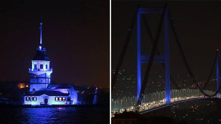 Boğaziçi Köprüsü ve Kız Kulesi maviye büründü