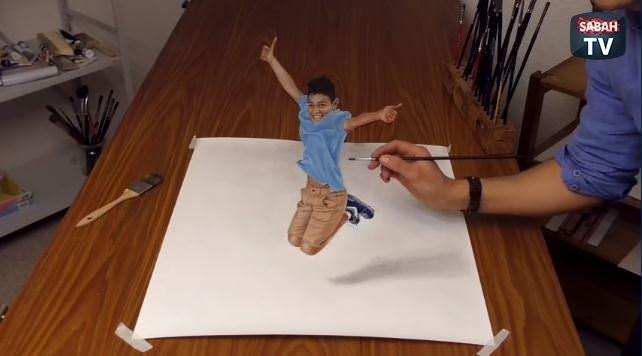 Aşırı gerçekçi zıplayan çocuk