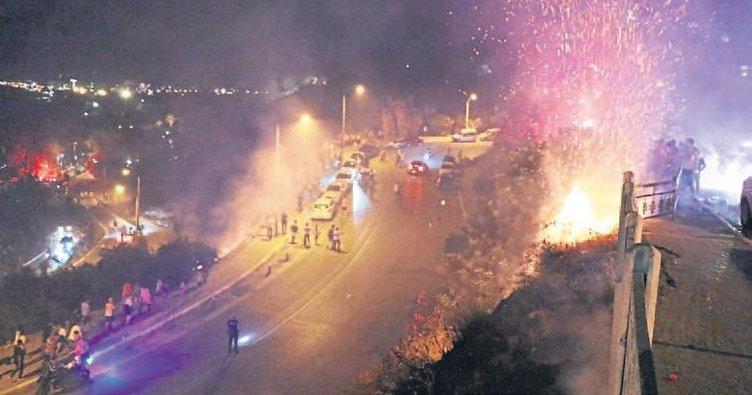 Kutlamaya yangın gölgesi