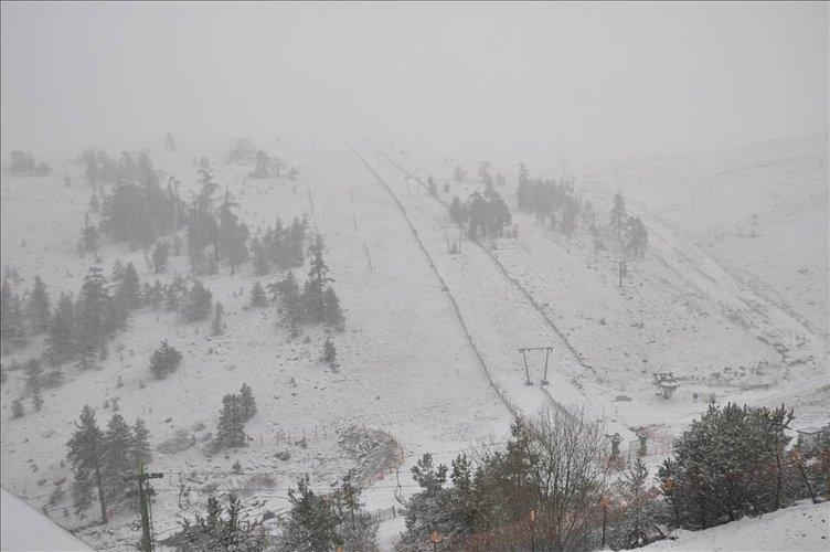 Kartalkaya'da kar yağışı