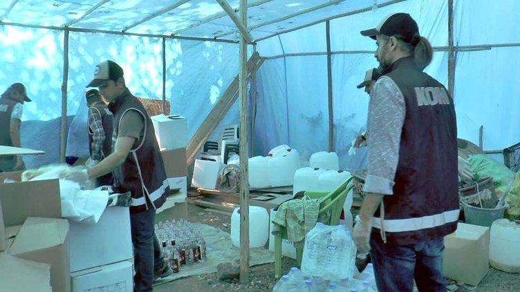 Çadırda sahte içki üretenlere operasyon