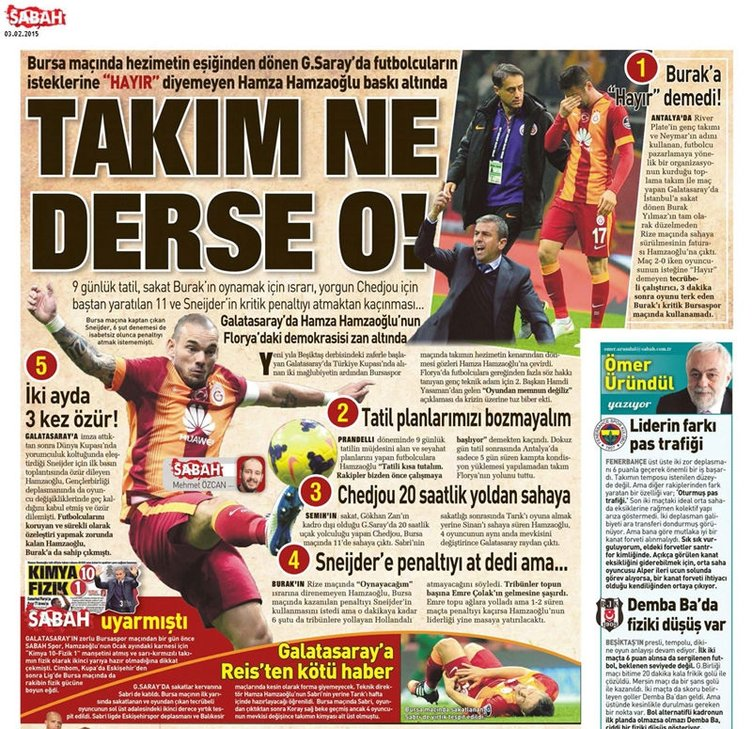 Spor basınında günün manşetleri (3 Şubat 2015)