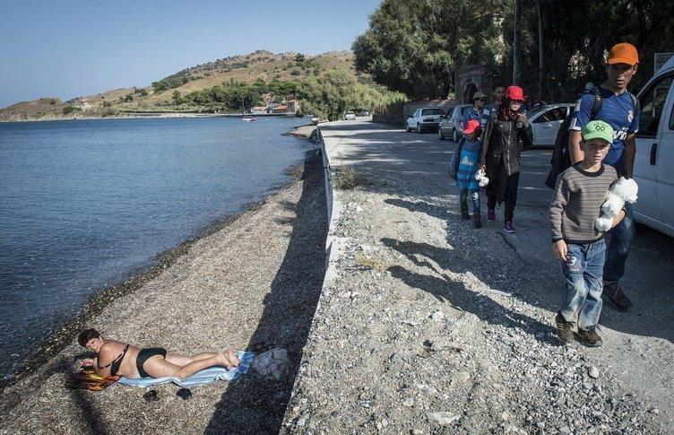 Sığınmacılar sahile böyle akın etti