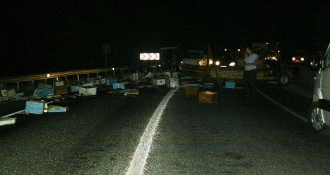 Marmaris'te arı kamyoneti kaza yaptı