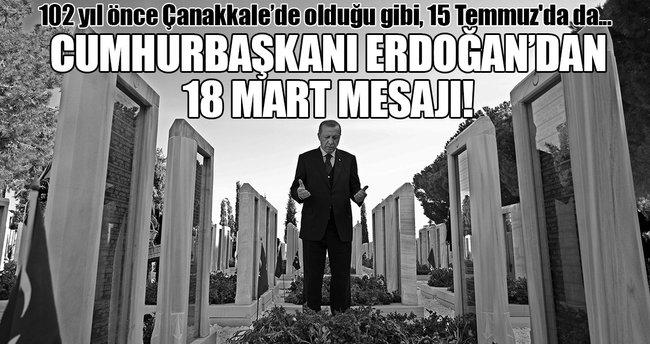 """Cumhurbaşkanı Erdoğan'dan """"18 Mart Çanakkale Zaferi"""" mesajı!"""
