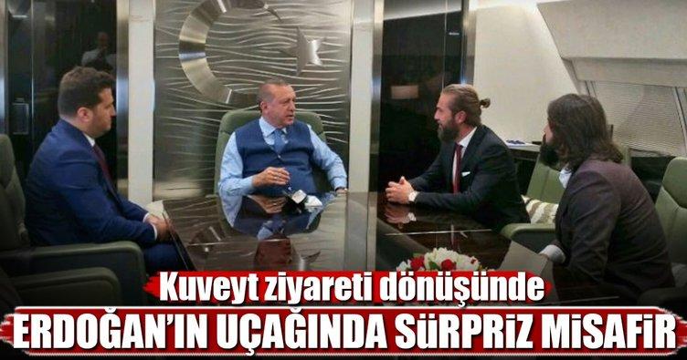Erdoğan'ın uçağında sürpriz misafirler