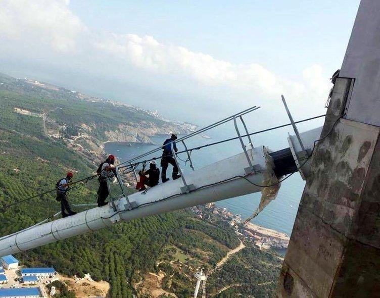 Yavuz Sultan Selim Köprüsü'nün ışıklarını dağcılar takıyor