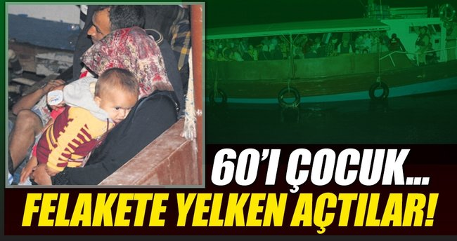 20 kişilik teknede 60'ı çocuk 100 göçmen!