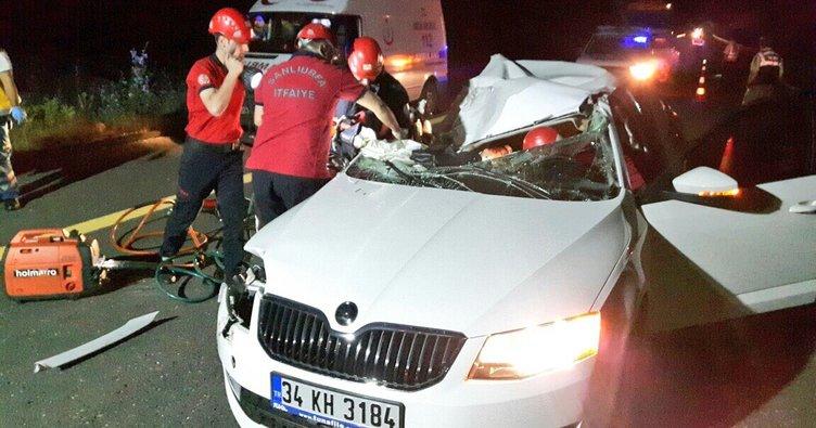 TIR ile otomobil çarpıştı: 1 ölü, 1 yaralı!