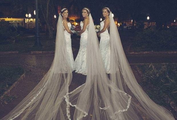 Brezilyalı üçüzlere toplu düğün