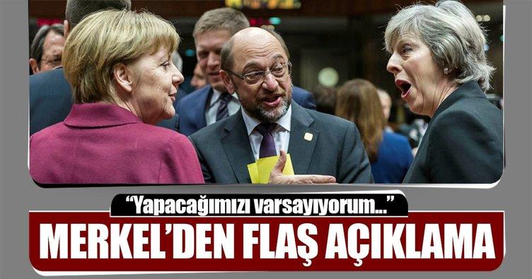 Merkel: Brexit müzakerelerini yapacağımızı varsayıyorum