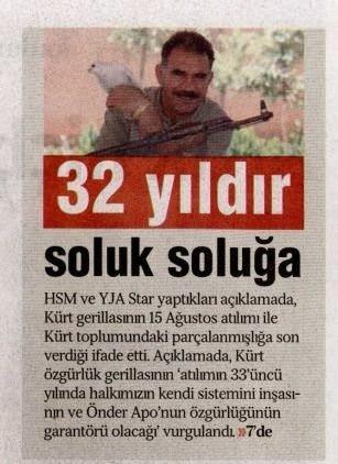 PKK'nın kapatılan gazetesinden skandal manşet ve haberler!