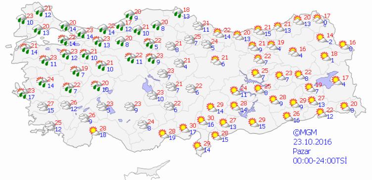 Yurtta 5 günlük hava durumu (23.10.2016)