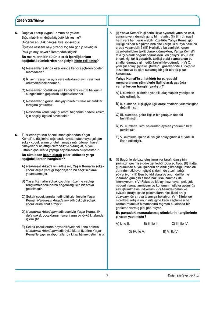 2016 YGS soru ve cevapları