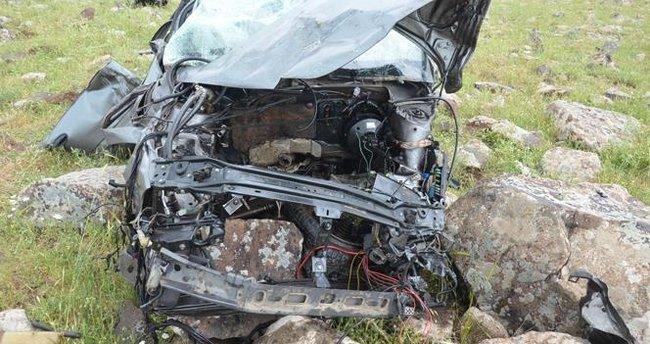 Aksaray'da araç şarampole yuvarlandı