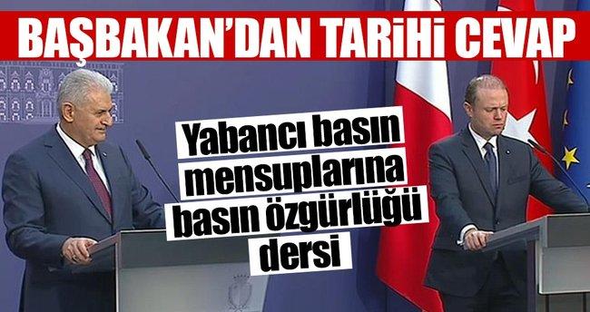 Başbakan Binali Yıldırım'dan basın özgürlüğü dersi