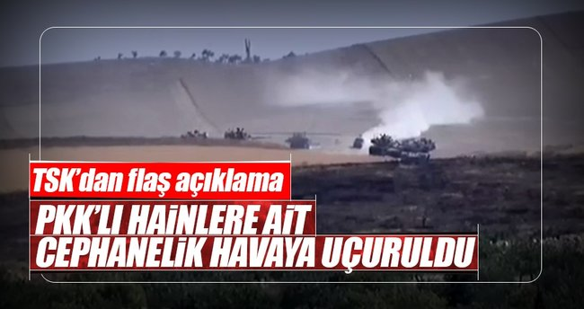 PKK'ya ait cephanelik havaya uçuruldu