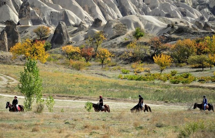 Kapadokya vadilerini at sırtında geziyorlar