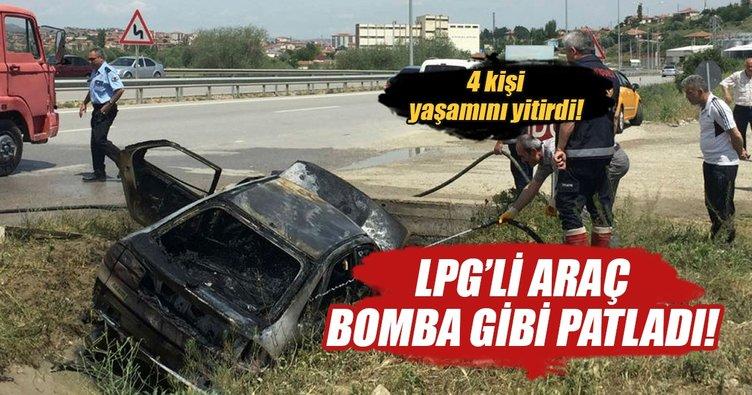 Su kanalına uçan LPG'li otomobil patladı