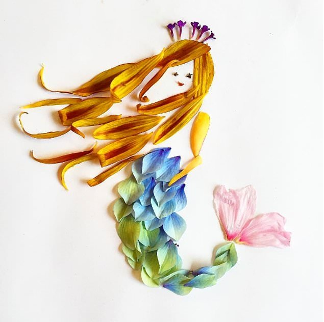 Yapraklarla hikaye anlatan kadın