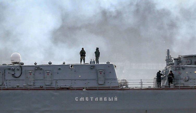 Rus savaş gemisi boğazdan böyle geçti