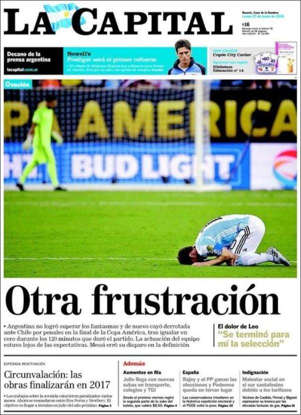 Copa America sonrası Arjantin ve Şili'de gazete manşetleri