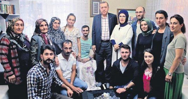 Erdoğan'dan şehit ailelerine ziyaret