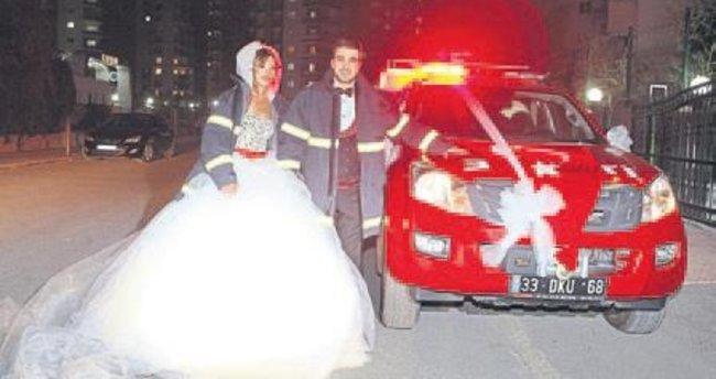 İtfaiyenin aracı düğün arabası