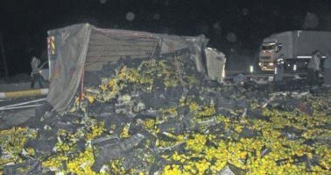 Mandalinalar asfalta döküldü