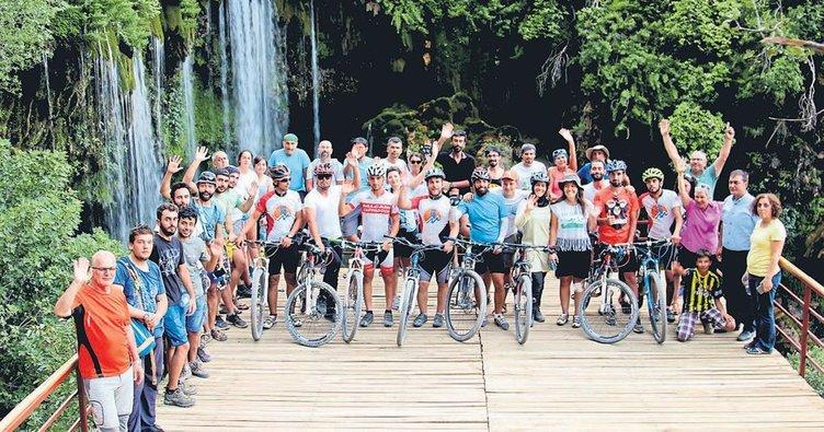 Yerköprü Şelalesi bisikletçileri ağırladı