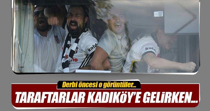 Beşiktaşlı taraftarlar Kadıköy'e böyle gitti