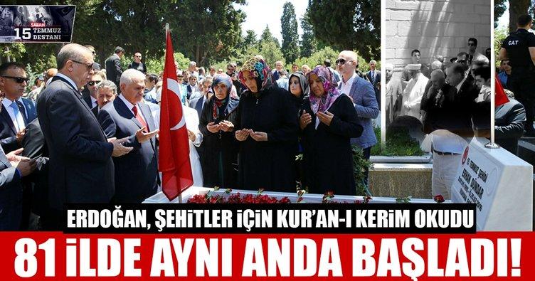 Cumhurbaşkanı Erdoğan, 15 Temmuz şehitliğinde Kur'an okudu!
