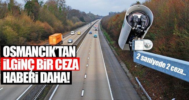 Sürücüye 2 saniye arayla 611 lira trafik cezası kesildi