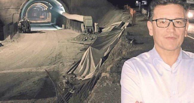 Tünel inşaatına gece ziyareti