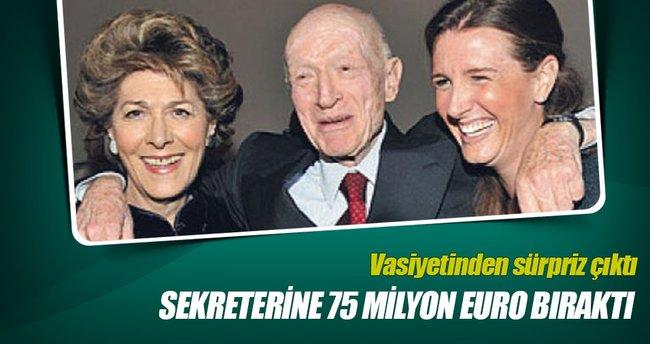 48 yıllık sekreterine 75 milyon euro bıraktı