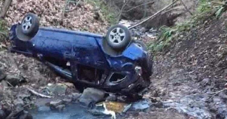 Otomobil Dereye Uçtu : 1 Ölü, 2 Yaralı