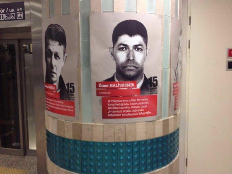 Metro istasyonları şehitlerin fotoğrafıyla donatıldı