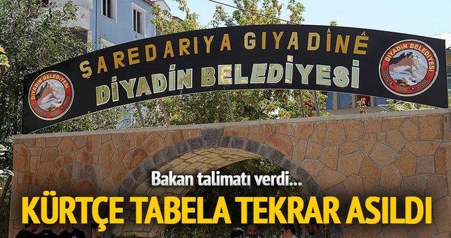 Diyadin Belediyesinin Kürtçe tabelası tekrar asıldı