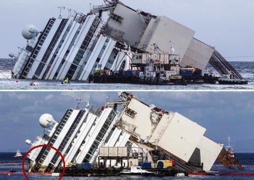 Costa Concordia ayağa kaldırıldı