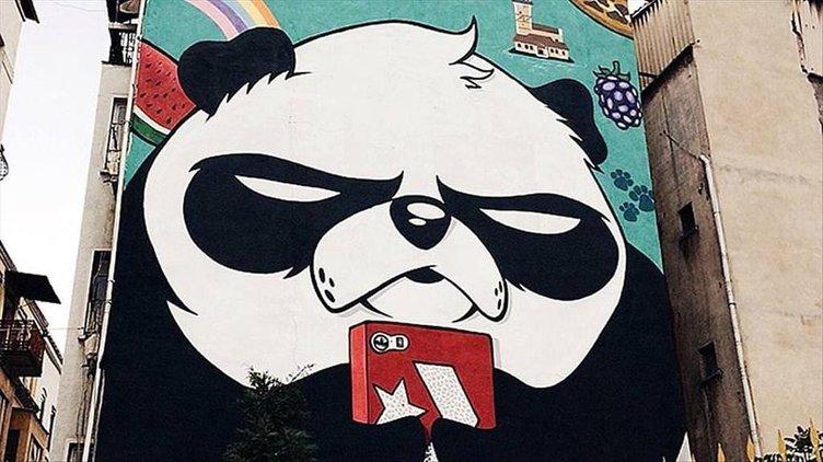 İstanbul sokaklarına 'kızgın pandalar' çiziyor